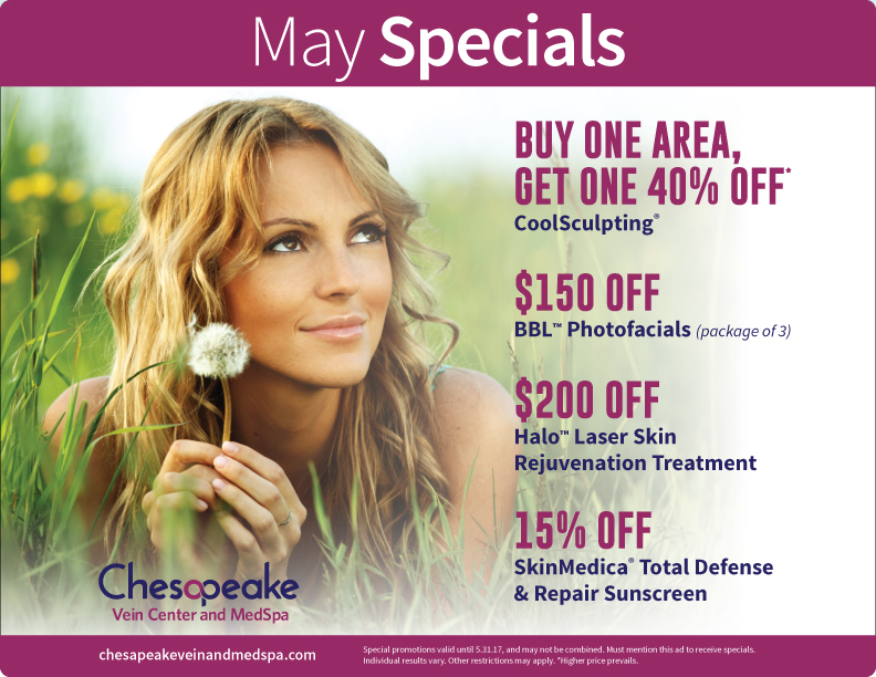May 2017 Monthly Specials for Chesapeake Vein and Medspa in Chesapeake, Virginia