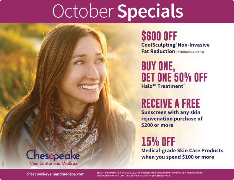 October 2017 Monthly Specials for Chesapeake Vein and Medspa in Chesapeake, Virginia