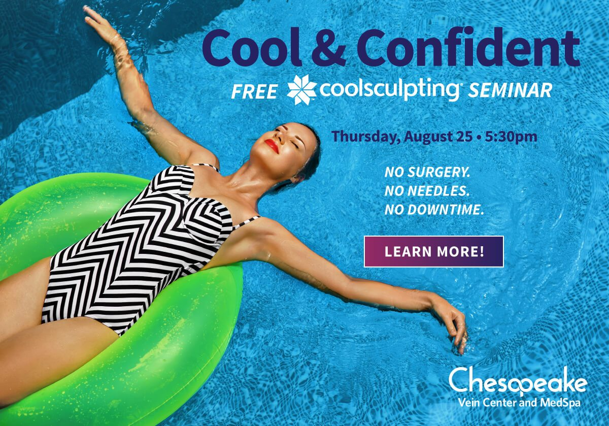 A Cool Night Out. A FREE coolsculpting seminar Thursday, August 25th at 5:30pm. Learn how coolsculpting targets the double chin, bra fat, abdomen, back fat, love handles, banana roll and inner and outer thighs.