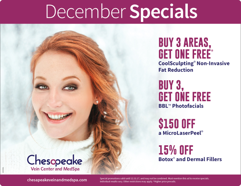 December 2017 Monthly Specials for Chesapeake Vein and Medspa in Chesapeake, Virginia