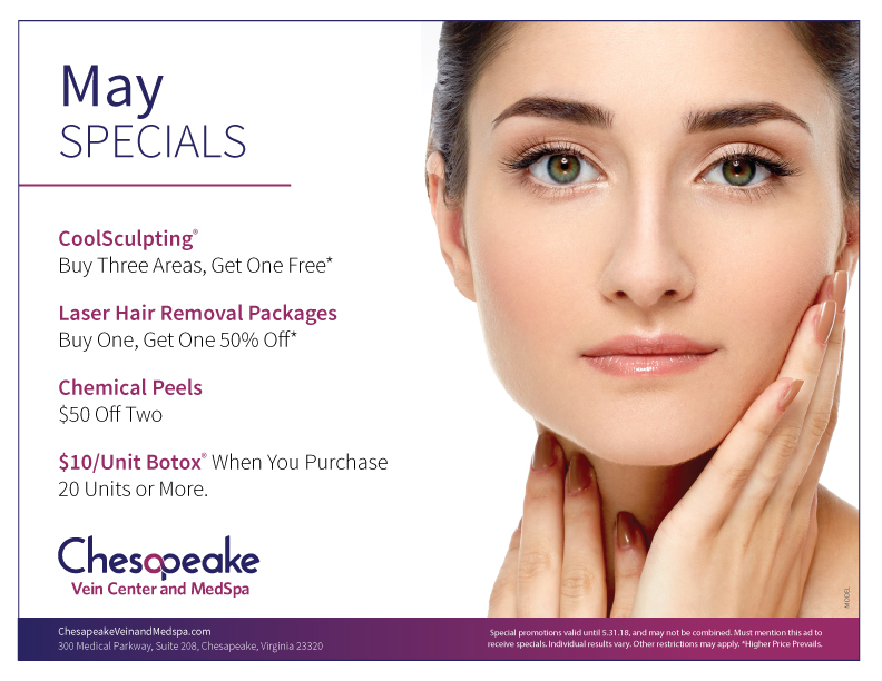 Counter Card for Chesapeake Vein and MedSpa's May Specials