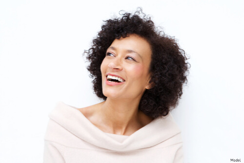 Woman with wrinkle free skin